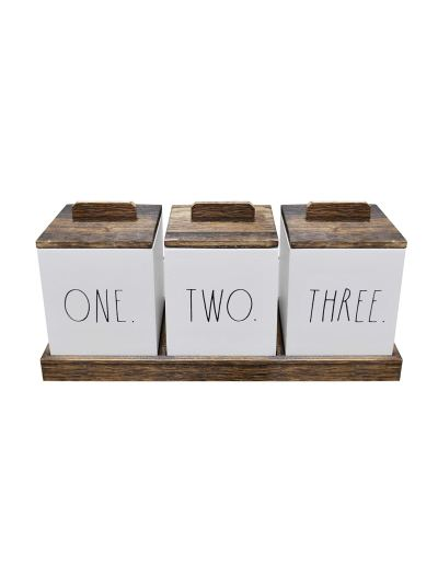 Storage Canister Set of 3 with Lids and Wood Tray
