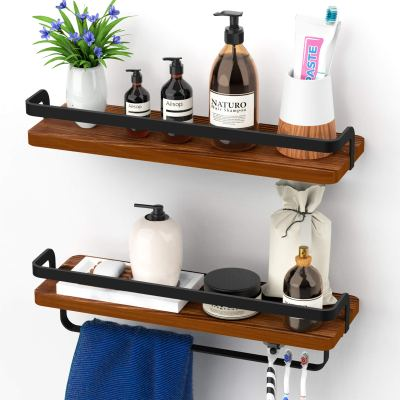 Solid Pinewood, Shelf with Towel Bar