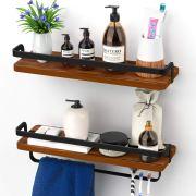 Solid Pinewood, Shelf with Towel Bar
