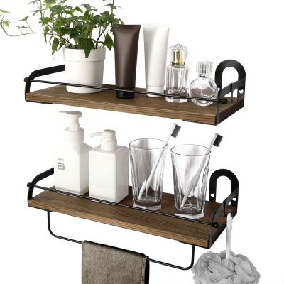Ophanie Floating Shelves Wall Mounted Set of 2, Rustic Wood Wall Storage