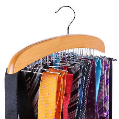 Ohuhu Tie Rack, Wooden Tie Organizer, 24 Tie Hanger Hook Storage Rack