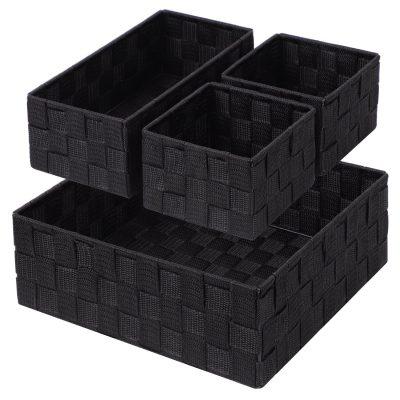 Posprica Woven Storage Box Cube Basket Bin Container Tote Organizer