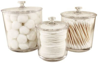 Premium Acrylic Apothecary Jars Set of 3 Canisters with Lids