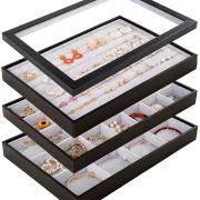 Mebbay Stackable Velvet Jewelry Trays Organizer Set