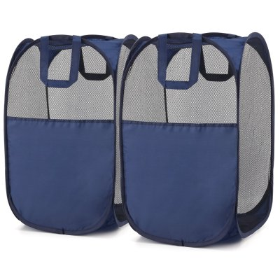 Foldable Pop-Up Mesh Hamper with Reinforced Carry Handles