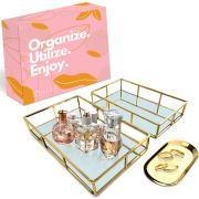 Mili Vanity Trays – 2 Large Perfume Organizer Mirror Trays