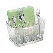 iDesign Rain Plastic Silverware Caddy Organizer Flatware Holder