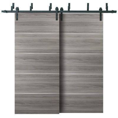 Double Bypass Barn Sliding Grey Doors 48 x 84