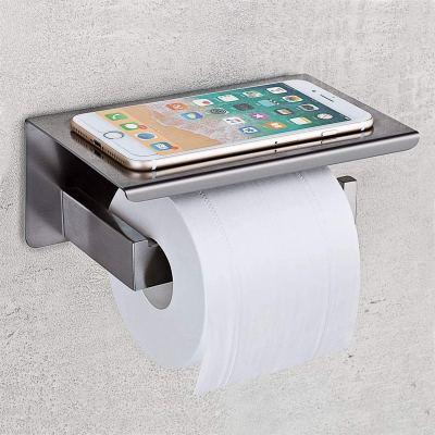 Brushed Nickel Toilet Paper Holder with Shelf
