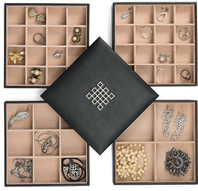 Glenor Co Earring Organizer Tray - 4 Stackable Trays