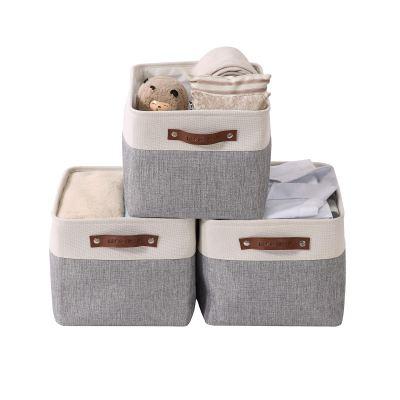 Large Fabric Storage Basket Cube W/Handles for Organizing