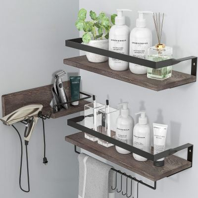 LYNNC 3 in 1 Rustic Floating Shelves, Decorative Storage Shelves