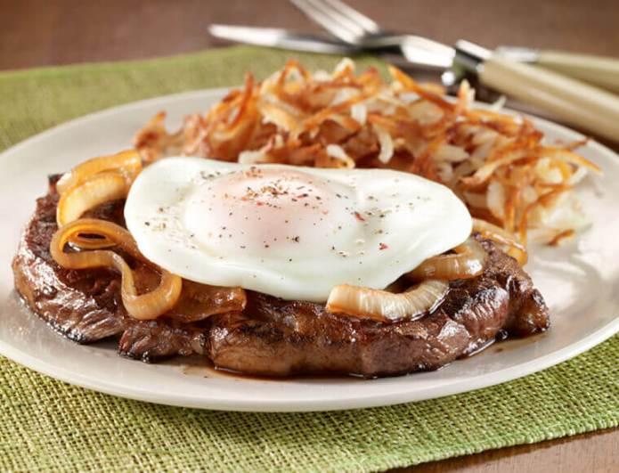 Rib Eye Steak With Caramelized Onion Fried Egg Recipe Land O Lakes