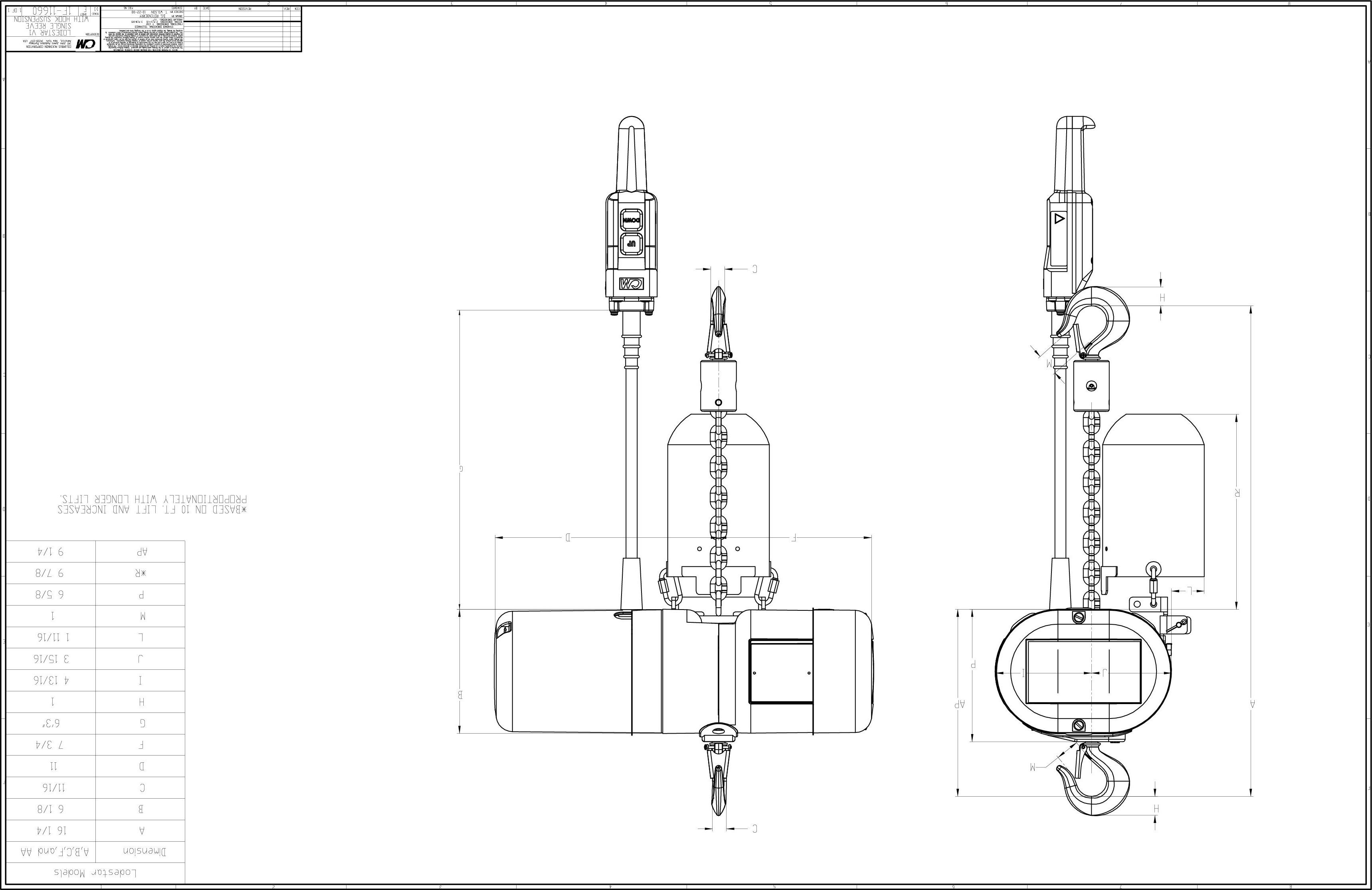 Product Code Cm Lodestar Electric Chain Hoist