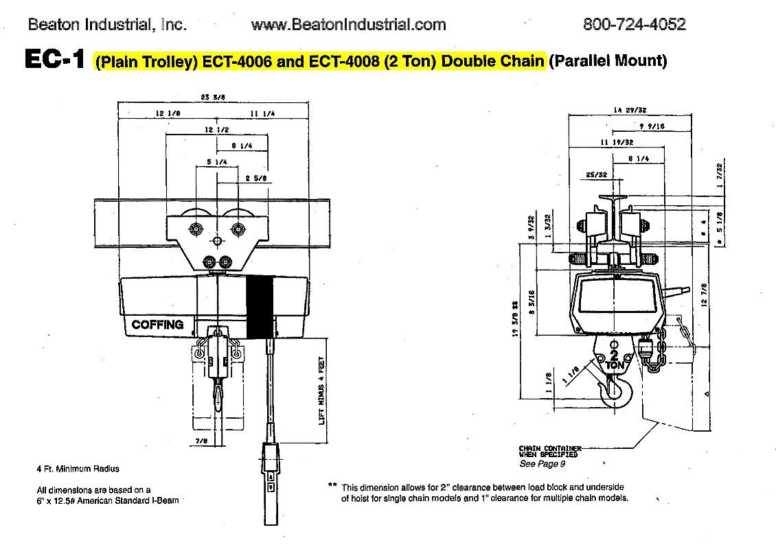 Coffing Ec 2 Ton Electric Chain Hoist
