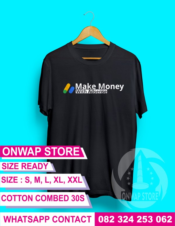 kaos blogger make money with adsense hitam