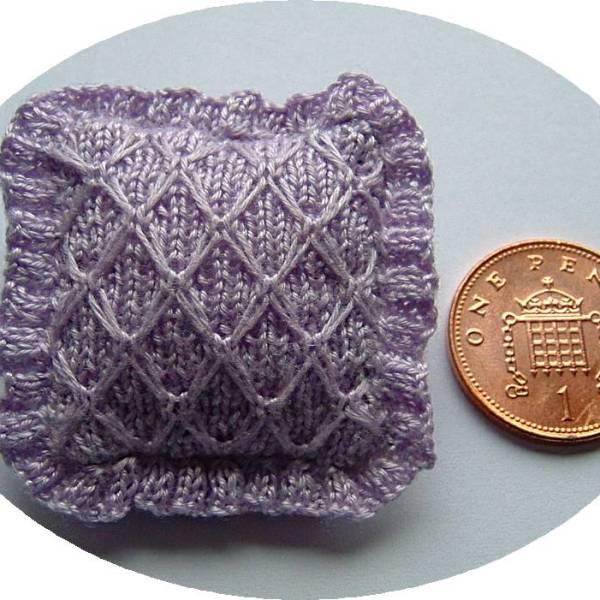 miniature knitted cushion