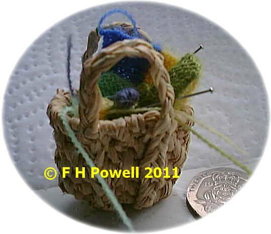 miniature knitting in basket