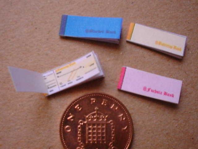 miniature cheque book
