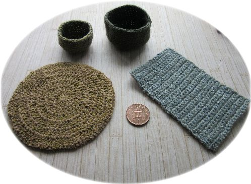 miniature rugs and baskets