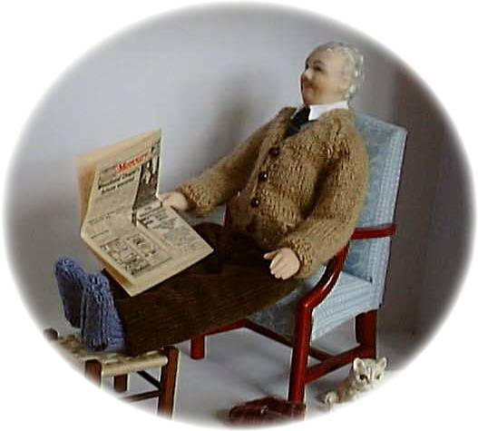 1:12th scale knitted cardigan