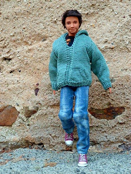 miniature knitted hoodie