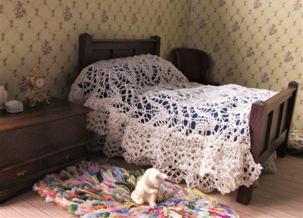 knitted miniature bedcover