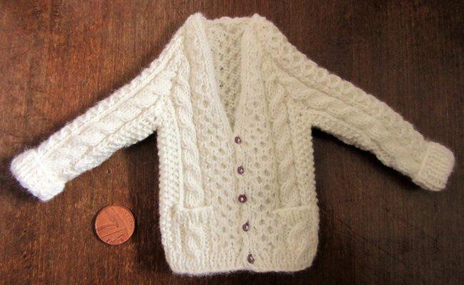 miniature Aran cardigan