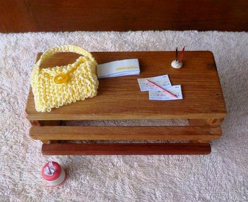 miniature knitted handbag
