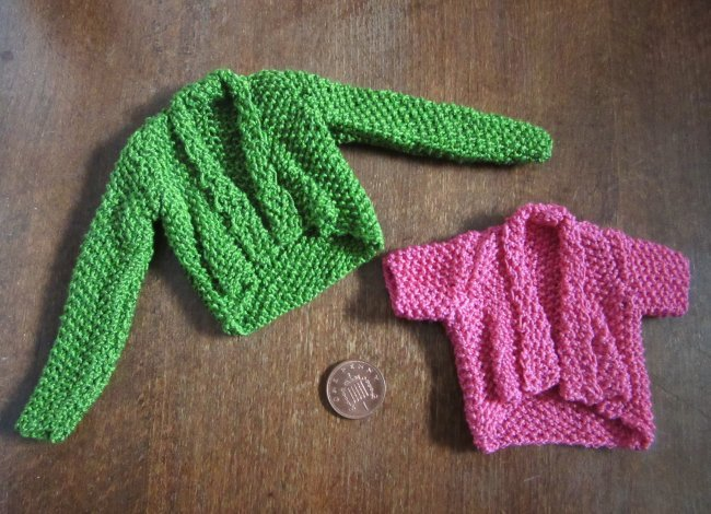 Miniature knitted cardigans