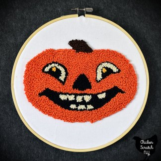 vintage Halloween pumpkin punched in DMC pearl cotton