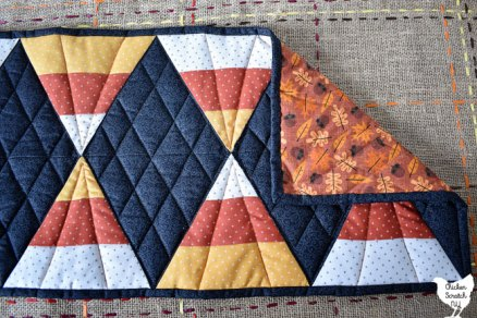 back of autumn candy corn table runner