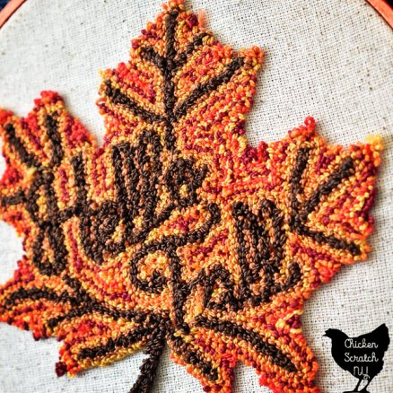 autumn leaf close up punch needle embroidery pattern