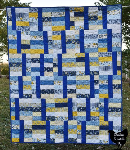 jelly waves blue and yellow jelly roll quilt