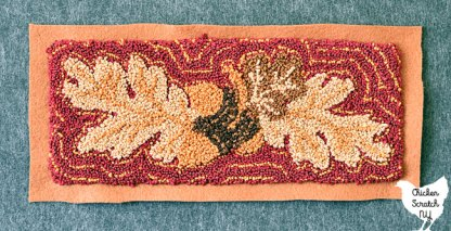 punch needle embroidery autumn oak leaves and acorns