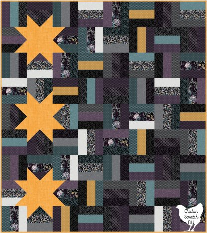 digital image of rain fence quilt with stars