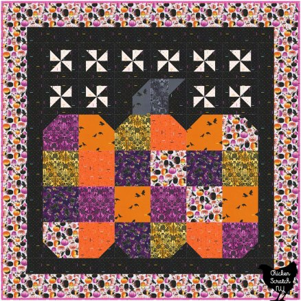 great pumpkin wall quilt made with Totally Twilight Fabric