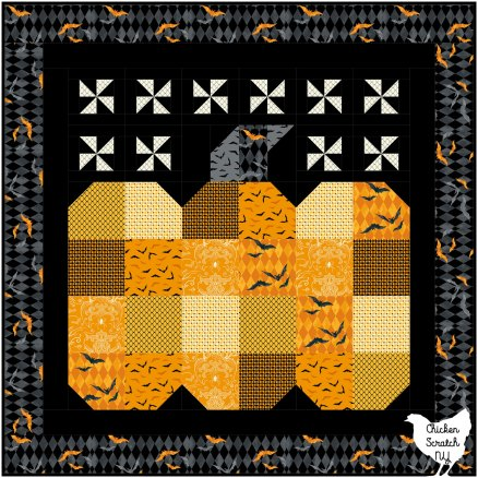 great pumpkin wall quilt made with Midnight Haunt Fabric from Andover