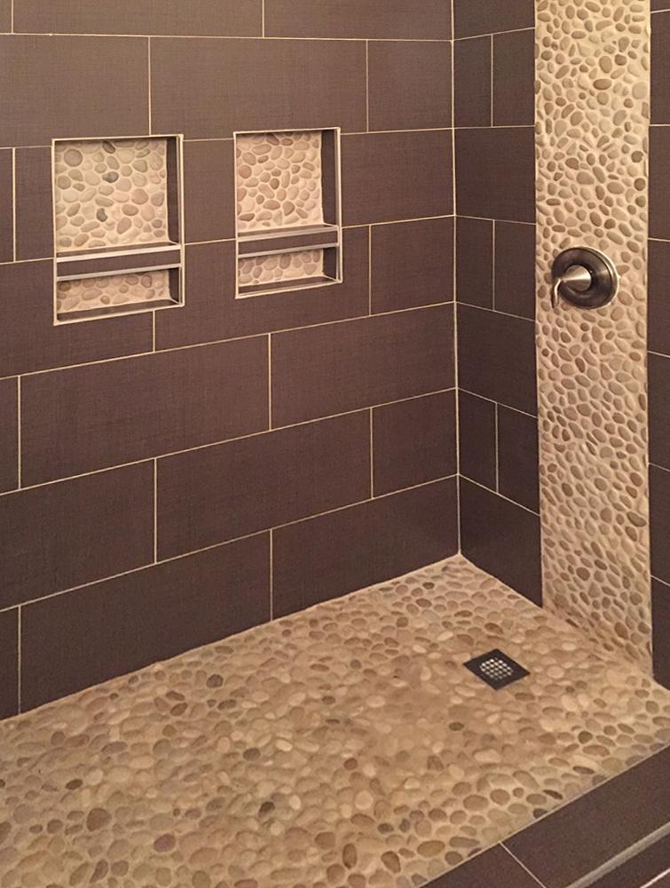 pebble tile installations subway tile