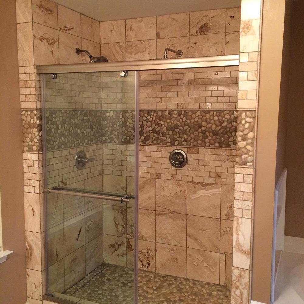 glazed java tan and white pebble tile