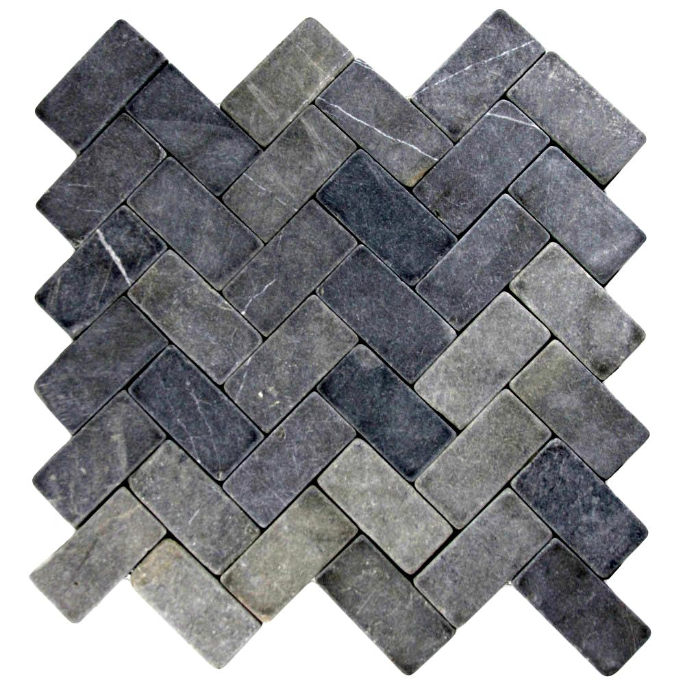 grey herringbone stone mosaic tile