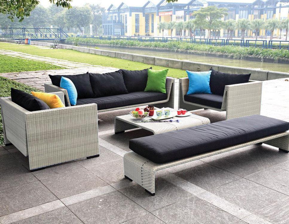Contemporary Outdoor Patio Seating Beige Wicker Sofa Set