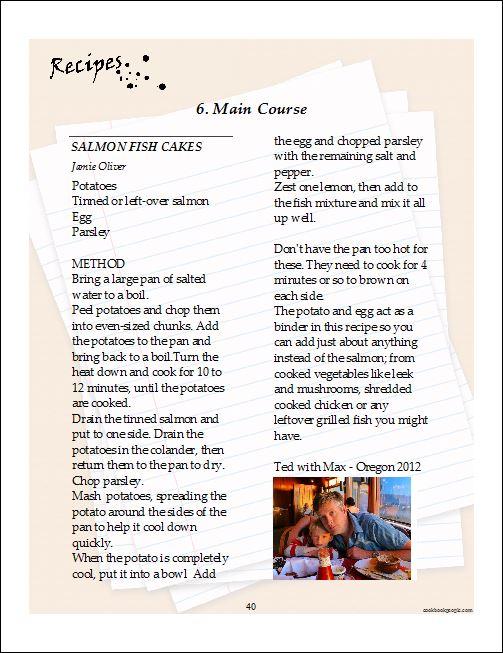 Recipe Cookbook Template. free printable recipe page template ...