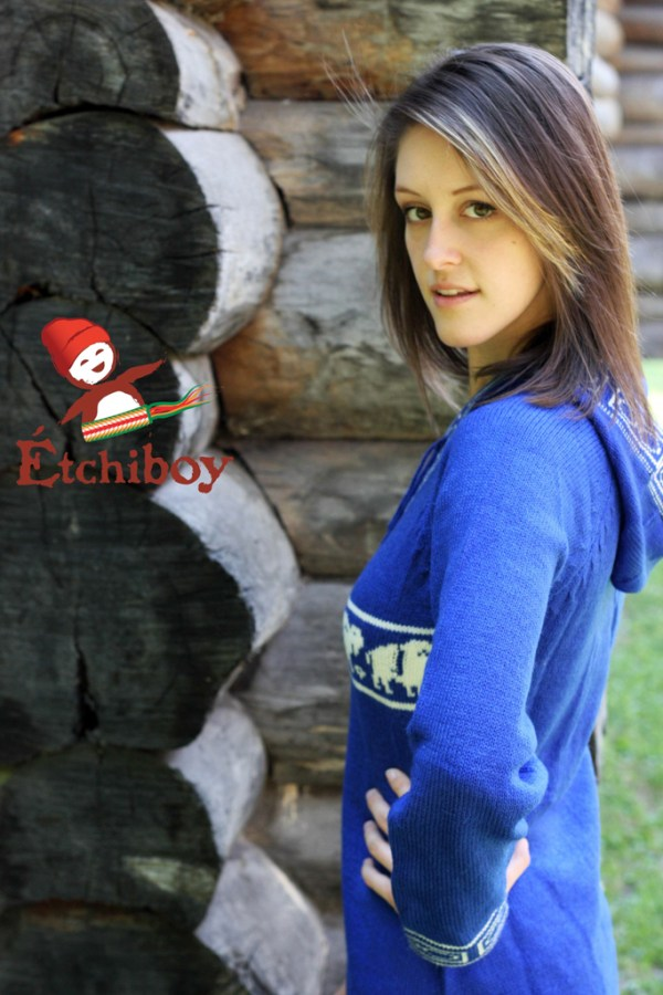 Hooded Blue Sweater With Bisons Chandail Bleu Avec Capuchon Avec Bisons 2