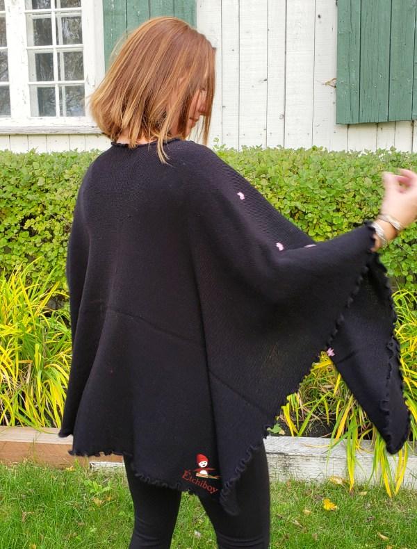 Flower Shawl Black Châle Fleuri Noir 4