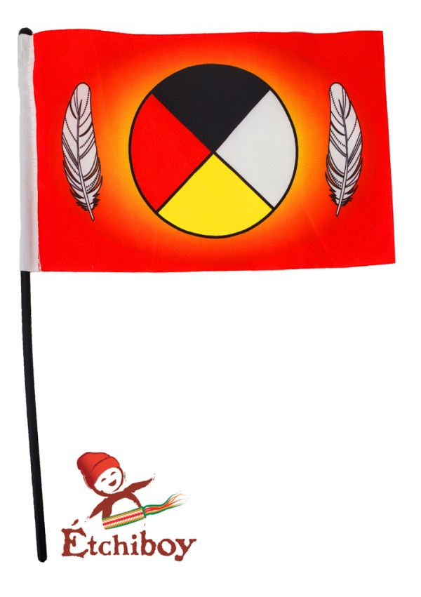 Small Medicine Wheel Flag Petit Drapeau Roue Médicinale 1
