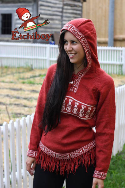 Hooded Red Sweater With Violins Chandail Rouge Avec Capuchon Avec Violons 1