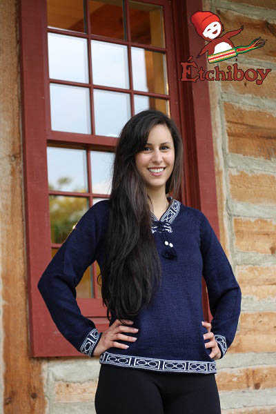 Navy Blue Sweater Chandail Bleu Marin Unisex 3
