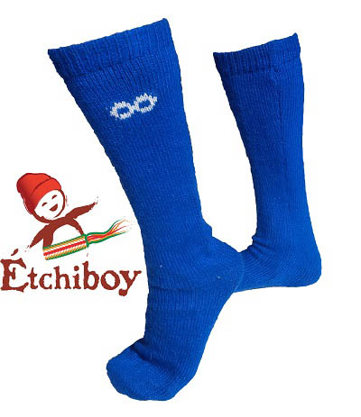 Knee high Socks Bas Hauteur Du Genou Alpaca Wool Laine Alpaga Blue Bleu One Size Fits All 1