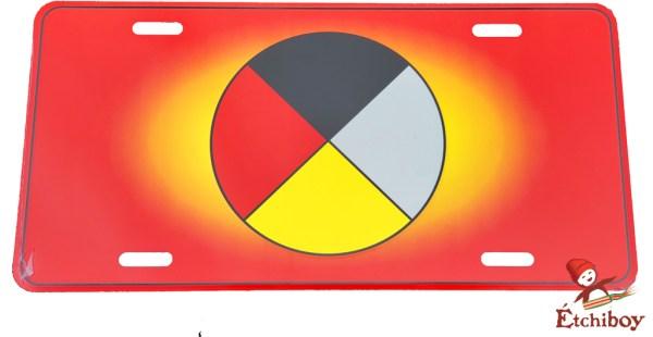 License Plate Medicine Wheel Plaque D'immatriculation Roue Médicinale 1
